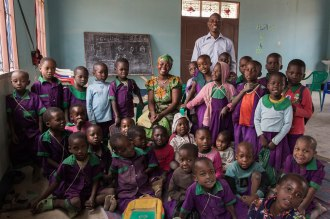 Nassson Mazengo and Anna Masi, teachers at the kindergarten in C